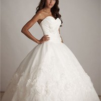 Princess Deep Sweetheart Flower Ball Gown Quinceanera Dress QD088