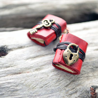 Heart Lock &amp; Key Miniature books earrings Red leather by fullmoonn