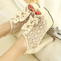 lovely Hansenne sexy elegant lace peep-toe sandal Waterproof Gladiator Shoes | shopdream