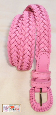 classic pink leather woven ladies handmade belt by by G2Pleather
