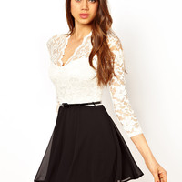 John Zack Belted Skater Dress In Lace