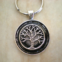 Tree of Life Keychain: Black - Men's Keychain - Men's Keyring - Tree Keychain - Celtic Keychain - Wiccan Keychain - Unique Keychain