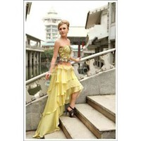 Yellow Embroidery Strapless Cocktail Dress Short Prom Dress
