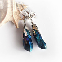 Titanium quartz earrings, vivid electric blue, dangle earrings