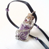 Wire wrapped purple fairy dust pendant necklace by PinkCupcakeJC