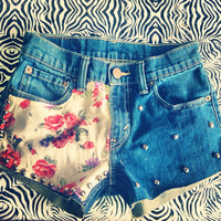 Guns & Roses Studded Shorts  by AngeliqueMerici on Etsy