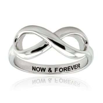 Tioneer Sterling Silver Now & Forever Engraved Infinity Ring - Size 4