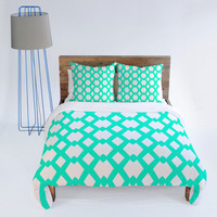 DENY Designs Home Accessories | Lisa Argyropoulos Daffy Lattice Aqua Duvet Cover