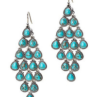 Turquoise Set Stone Chandelier Earrings - Jewelry - Lucky Brand Jeans