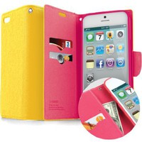 Amazon.com: SQ1 [Mercury] Multi-Purpose Premium PU Leather Wallet Case for Iphone 4 (Yellow / Hot Pink): Cell Phones & Accessories