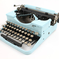 Hot-Rodded Typewriter -- Royal Deluxe in Baby Blue