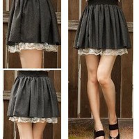 Lace Inner Layered Soft Woven Cotton Skirt (Grey)
