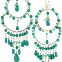 Turquoise, Jade & Gold Chandelier Earrings | Azure Couture Earrings