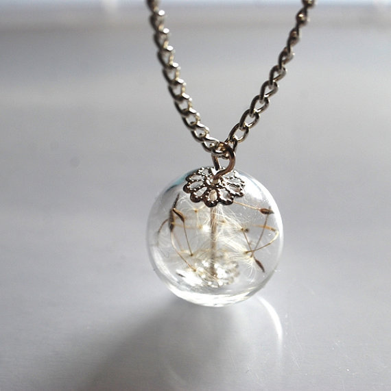 Dandelion Necklace Silver Real Seeds Wish by NaturalPrettyThings