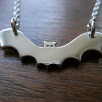 Silver Bat Pendant Necklace by GorjessJewellery on Etsy