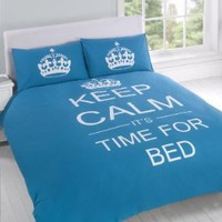 FULL TEAL TEENAGER KEEP CALM ITS TIME FOR BED COTTON REVERSIBLE COMFORTER COVER:Amazon:Home & Kitchen
