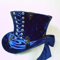 CUSTOM MADE Steampunk Top Hat in Blue Crushed Velvet | GypsyLadyHats - Accessories on ArtFire