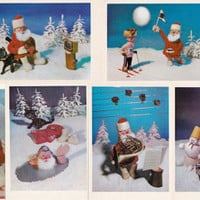 Set of 9 Vintage New Year, Santa Cards -- 1970s