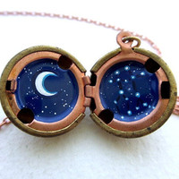 Constellation Locket - Personalized Jewelry - Hand-painted Astrological Sign in the Stars with Moon