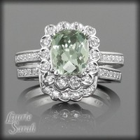 Prasiolite And White Sapphire Wedding Set LS1927 | LaurieSarahDesigns - Wedding on ArtFire