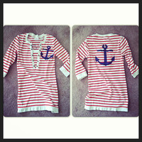 Pin up style striped Anchor shirt hand stenciled OOAK red white navy upcycled size XS/S