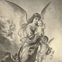 Nursery Art Vintage Black & White bookplate A Gift From Heaven Angel and Infant 1913 Children's Book