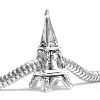 Queenberry (Free S/H) Eiffel Tower 925 Sterling Silver France Paris Landmark Charm for Pandora European Charm Bracelet Jewelry