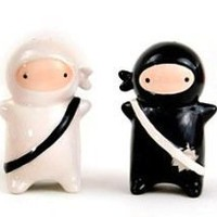 Japanese Ninja Kids Salt & Pepper Shaker Set, Black and White