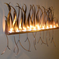 Metal Candle Holder Wall Sconce For Candles Or by AuraWaterfalls
