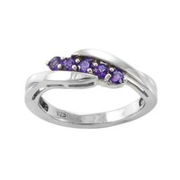 Sterling Silver Five-Stone Amethyst Ring, Size 7