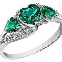Amazon.com: Created Emerald Heart Ring with Diamonds 1.25 Carat (ctw) in 10K White Gold: Jewelry