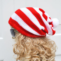 Red White Stripey Kniited Oversized Slouchy Beanie Hat Dreads Tam Hat Pompom Hat