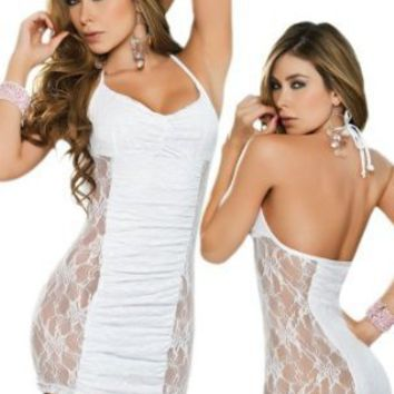 Sexy White Lace Ruched Bandeau Bustline Halter Dress