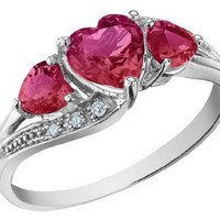 Amazon.com: Created Ruby Heart Ring with Diamonds 1.25 Carat (ctw) in 10K White Gold: Jewelry