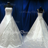 A Line Strapless Sweetheart Court Train Elegant Satin with Embroidery Ivory Wedding Dresses Vintage Bridal Gown, Wedding Gown