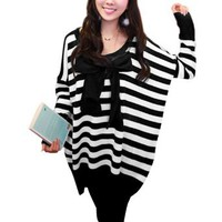 Amazon.com: Allegra K Pregnant Woman Scoop Neck Stripes Pattern Sweater Black White L: Clothing