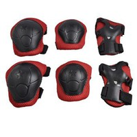 Amazon.com: Como Children 3 in 1 Wrist Elbow Knee Safety Pad Support Gear Black Red: Sports & Outdoors