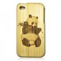 Generic Bamboo Case for iPhone 4 / 4s - Hand Carved Panda Color Wood