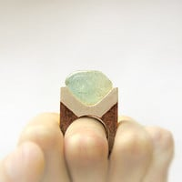 Gemstone geometric wooden Ring with Blue Topaz, coctail statement ring, gemstone jewelry, brown and silver, modern geometric minimalist