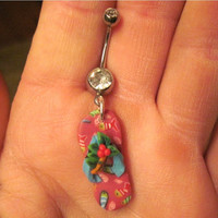 Navel Belly Button Ring Fimo Polymer Clay Flip Flop Barbell Rhinestones Naval