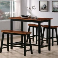 Black and Oak Counter Height Pub Set with Bench