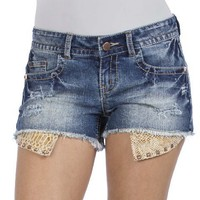 WallFlower Juniors Peek-A-Boo Denim Shorts:Amazon:Clothing