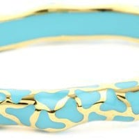 "Andrew Hamilton Crawford ""Elegant"" 18k Gold Vermeil and Turquoise-Color in Thin Wavy Damask Bangle Bracelet"