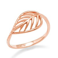 Tropical Leaf Ring in 14K Rose Gold