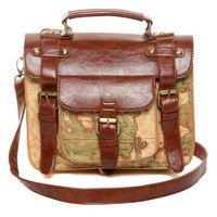 Cool Map Print Purse - Print Satchel - Print Handbag - &amp;#36;40.00