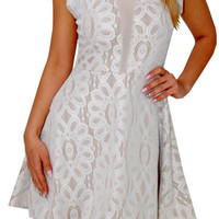 Secure (White/Beige)-Great Glam is the web's best online shop for trendy club styles, fashionable party dresses and dress wear, super hot clubbing clothing, stylish going out shirts, partying clothes, super cute and sexy club fashions, halter and tube top
