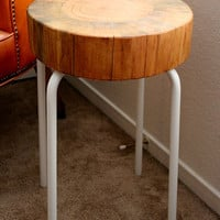 Wood Side Table - Reclaimed Wood Furniture - Tree Stump Table - Cedar Wood