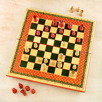 Painted Wood Chess Set | Decorative Accessories| Home Decor | World Market