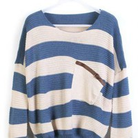 Blue Stripe Bat Sleeve Round Neck Loose Sweater