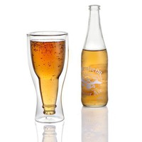Hopside Down Beer Glass, Double Wall Beer Glass - No more warming your beer with your hands.
